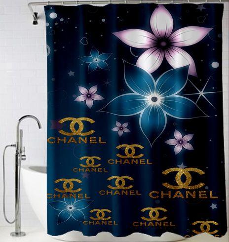 Chanel Blue Logo Gold Shower Curtain Design Vintage Custom Gift Birthdays  Present Fashion Favorites Home Living