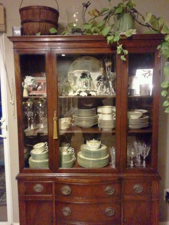 Drexel 1940 china cabinet. Filled with my grandfathers Wedgewood ...