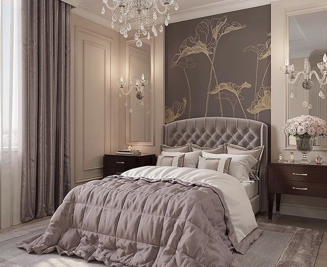 Monochromatic taupe Bedroom with velvet tufted headboard