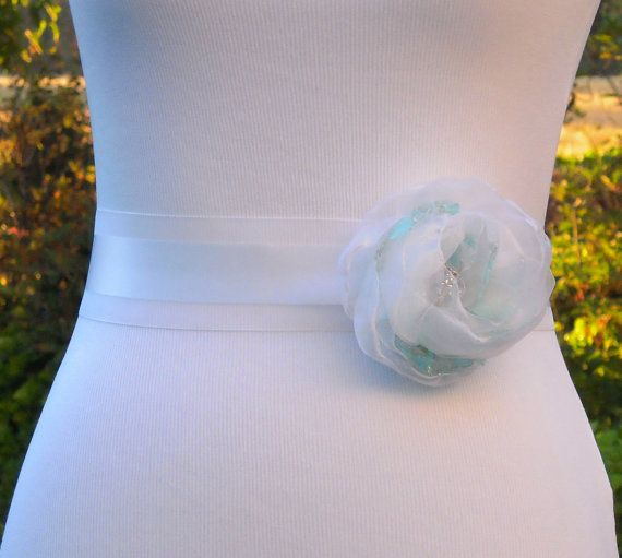 White and Mint Green/Aqua Wedding Dress Sash Belt by SorellaSashes