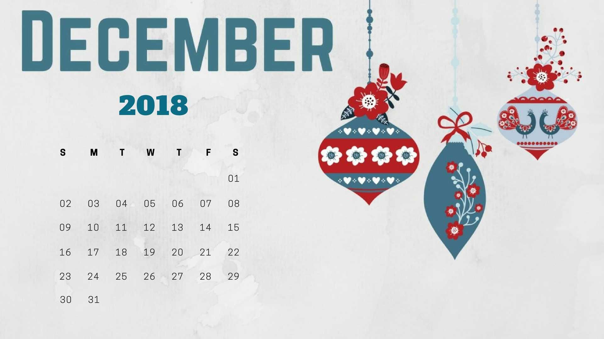 december 2018 calendar wallpaper for desktop background laptop and