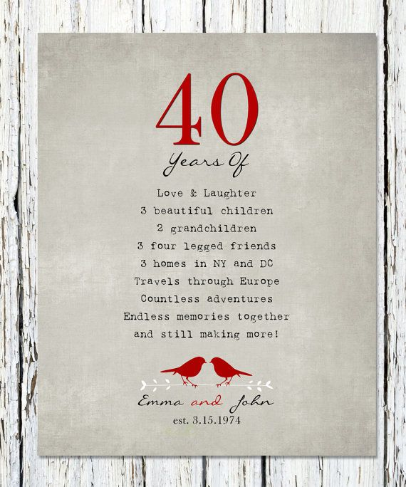 40th Anniversary Gift for parents, 40th RUBY Anniversary print, Personalized Wedding Anniversary sign 8 x 10 poster print