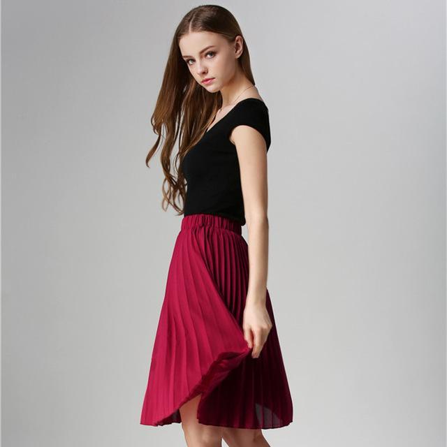 Vintage Tulle Tutu Midi Summer Skirts Slim Elastic High Waist Jupe Longue Skater Pleated Skirts