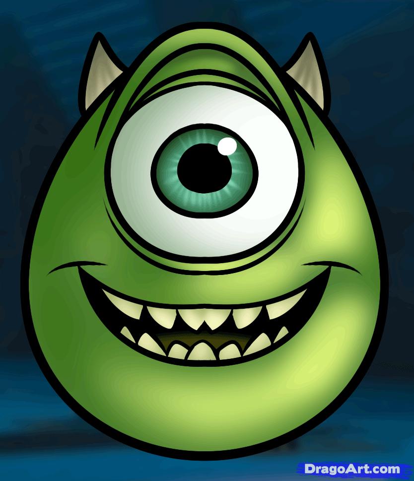 How To Draw Mike Wazowski Easy 1 000000016316 5 Png 834 969 Pixels Desenhos Monstros Monstros S A