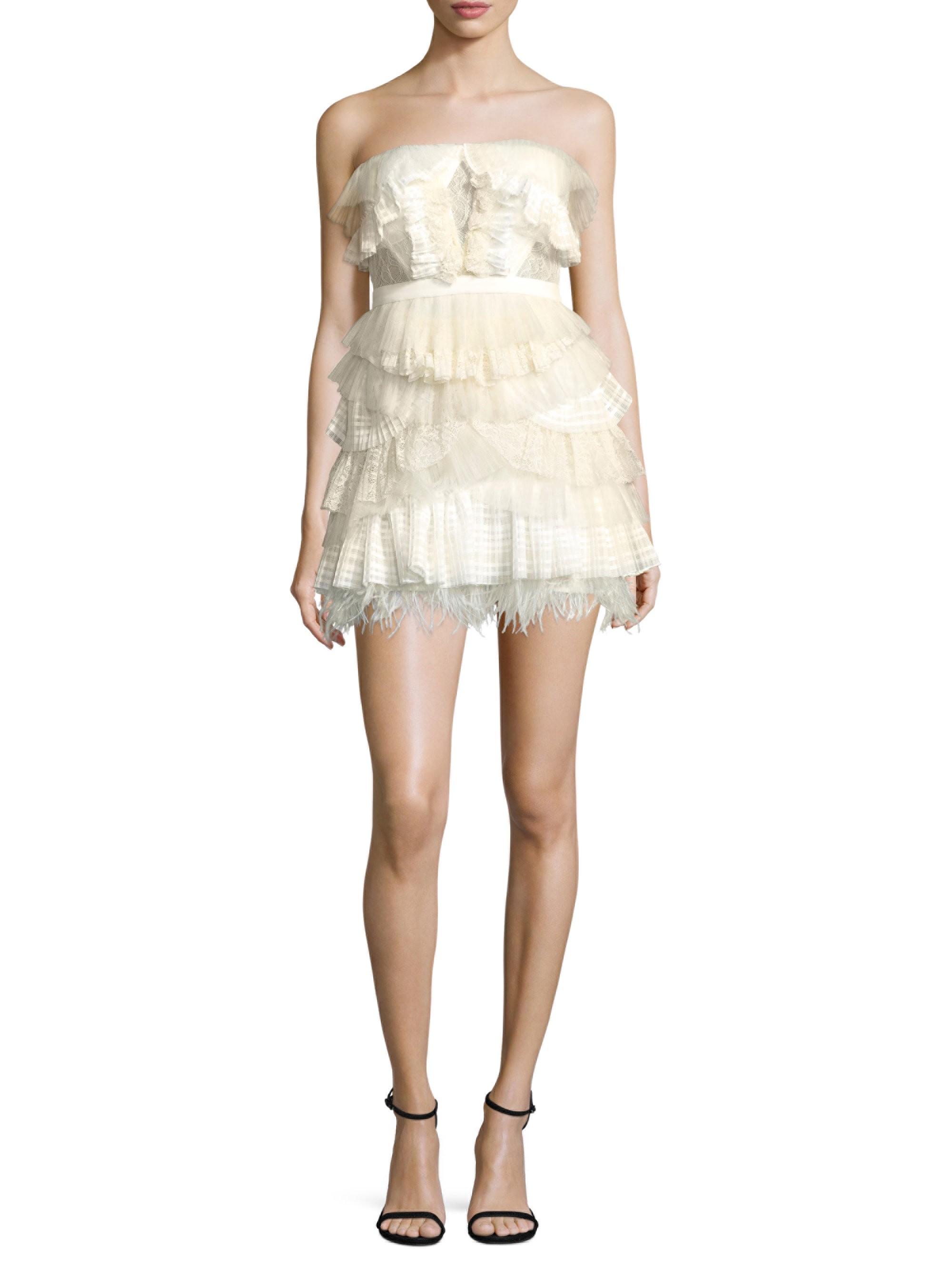 Bcbgmaxazria Tiered Ruffle Dress Off White Combo 12 Tiered Ruffle Dress Tiered Ruffle Mini Dress Strapless Ruffle Dress [ 2667 x 2000 Pixel ]
