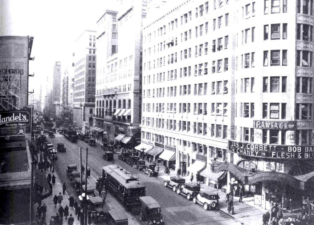 7th hill sts c 1920s look west downtown los
