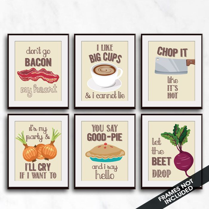 Bacon, Big Cups, Chop, I'll Cry, Good-Pie, Beet (Funny Kitchen Song Series) Set 6 Art Prints (Featured in Colors 29) Kitchen Art by KITCHENBATHPRINTS on Etsy https://www.etsy.com/listing/275223376/bacon-big-cups-chop-ill-cry-good-pie