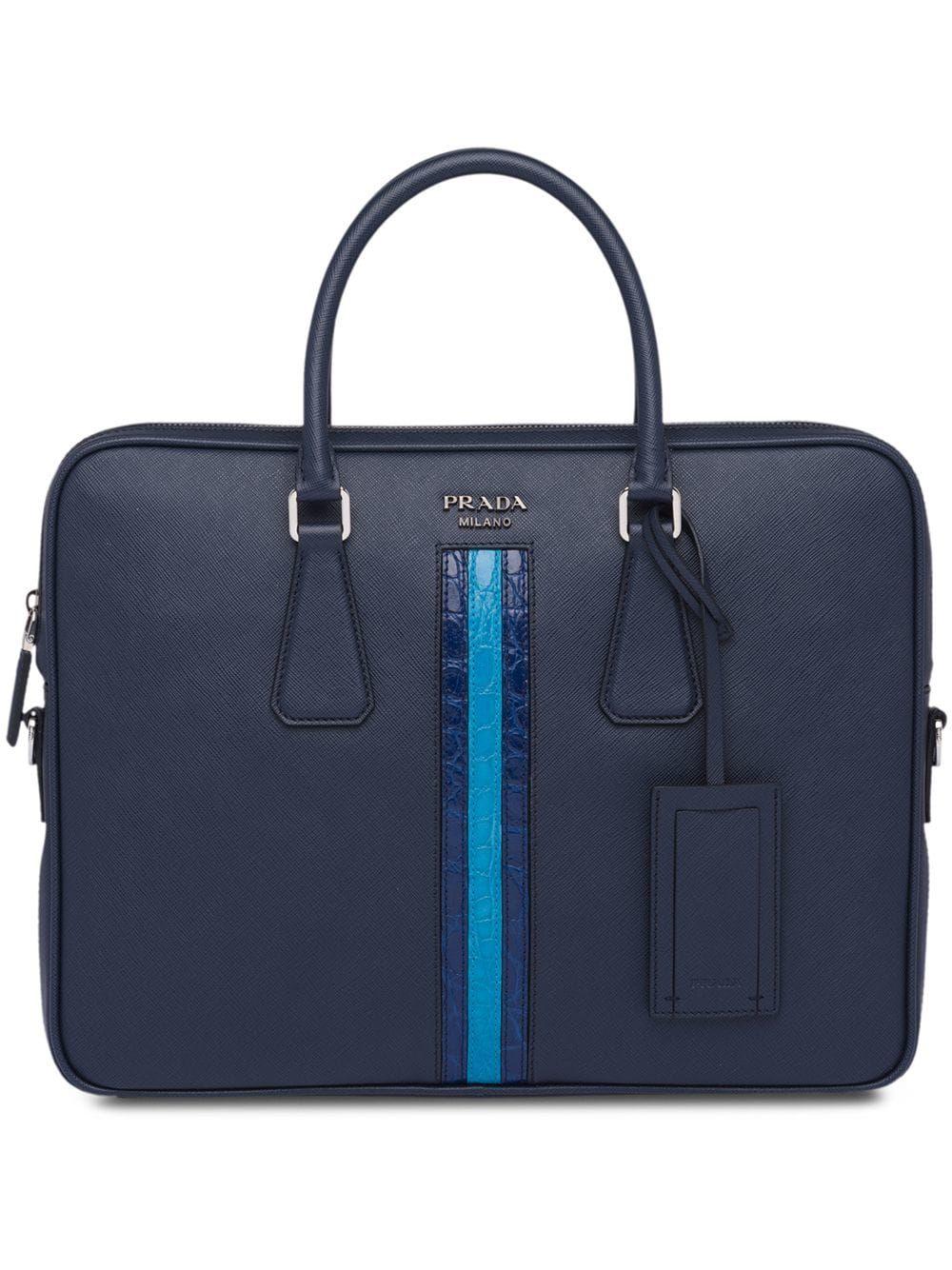 8592b884a1 PRADA PRADA LOGO ZIPPED LAPTOP BAG - BLUE.  prada  bags  leather ...