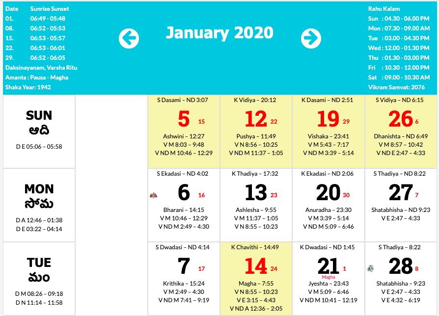 Telugu Calendar 2020 – January To December 2020 | January ...