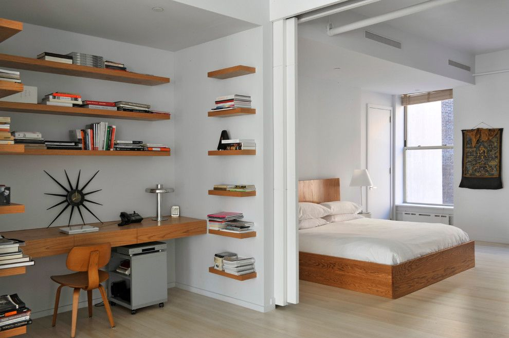modern bedroom shelves  Bright Floating Bookshelves look New York Contemporary Bedroom ...