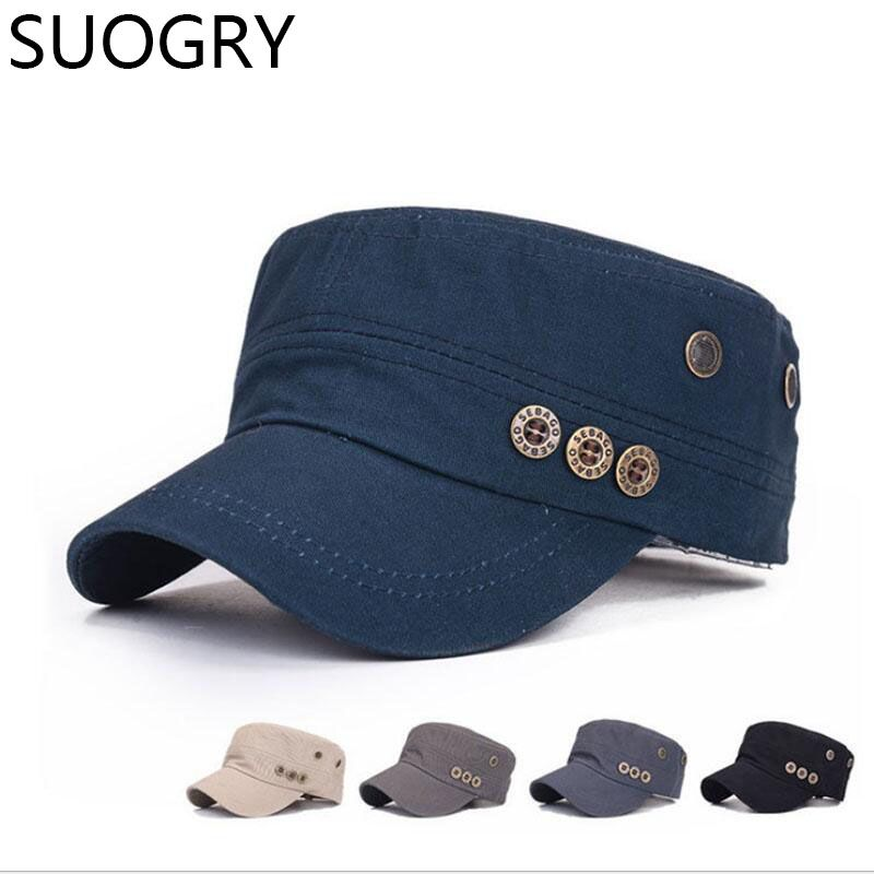 SUOGRY Adult outdoor travelling flat army hats women and men summer ... d7956c7b9667