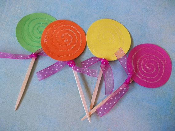 Lollipop cake or cupcake toppers by Zopali on Etsy, $9.00