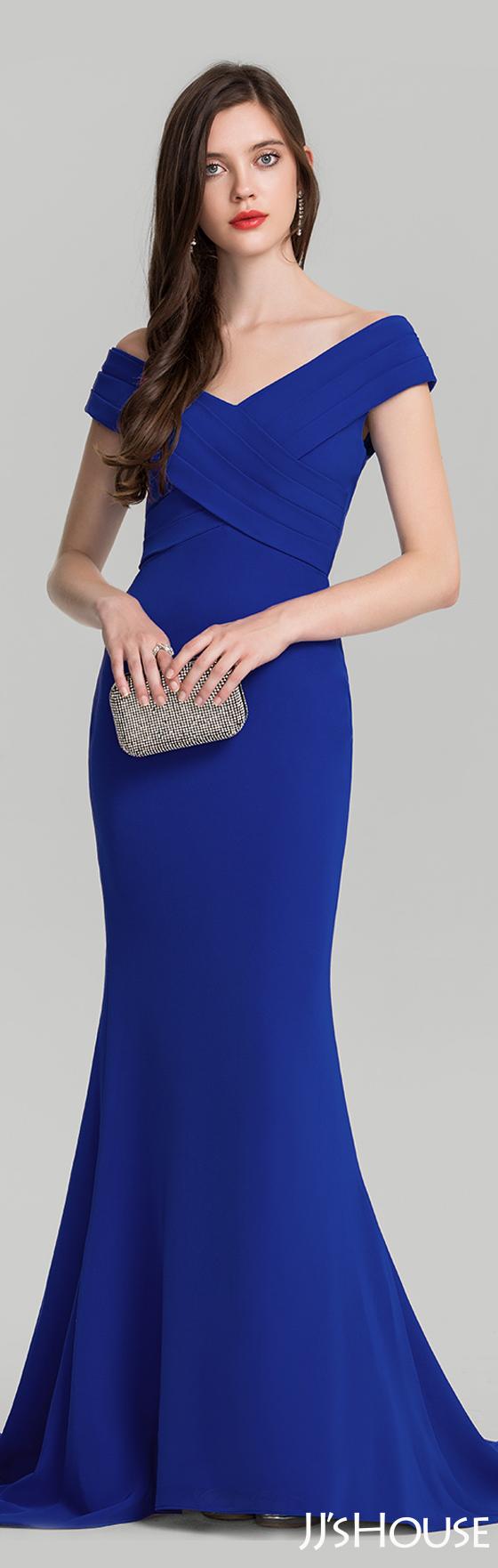 Trumpet/Mermaid Off-the-Shoulder Sweep Train Satin Evening Dress ...