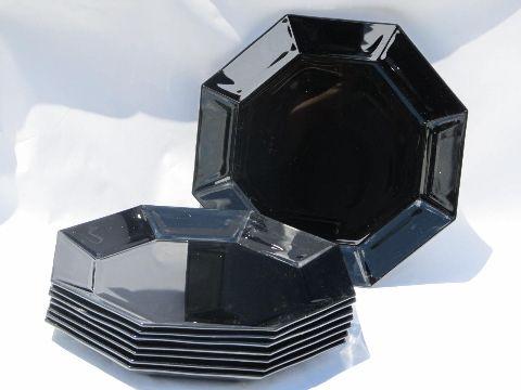 Ebony black Octime pattern glass plates bowls mugs, Arcoroc