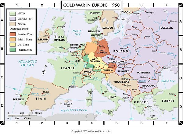 Map Of Europe 1950 Atlas Map: Cold War in Europe, 1950 (With images) | Europe map