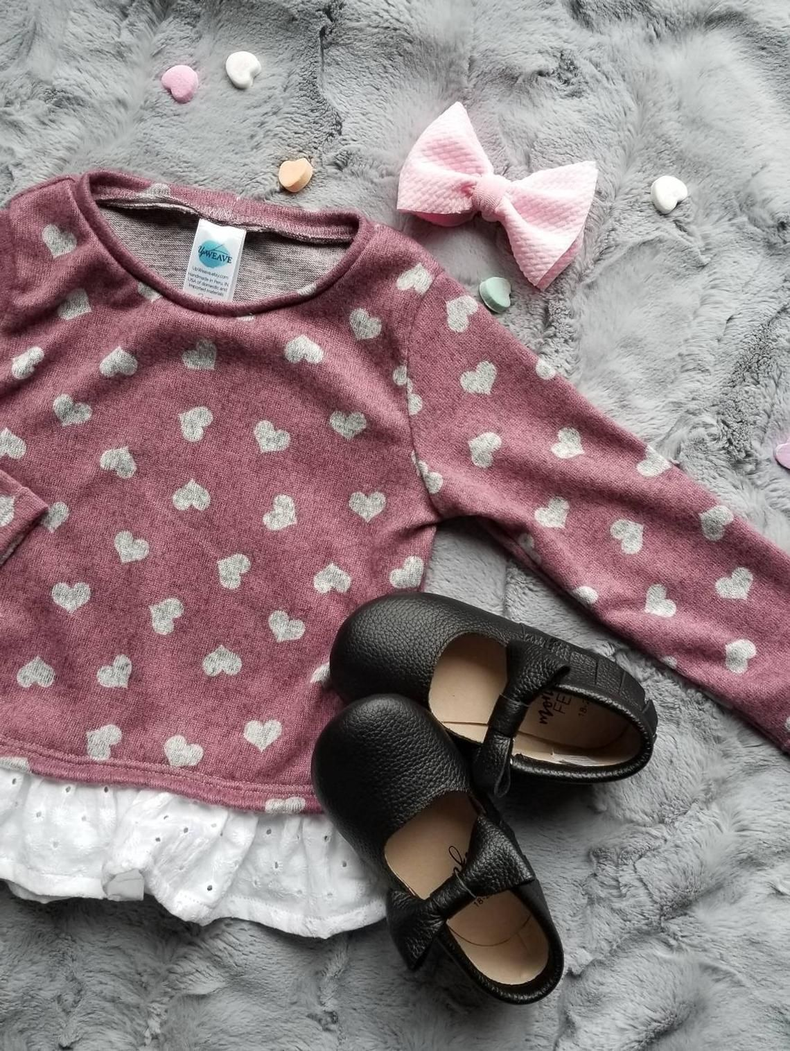13f2e53bc Valentine s Day Top Girls Sweater with Hearts Valentine