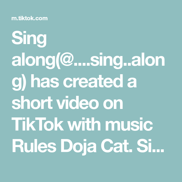 Sing Along Sing Along Has Created A Short Video On Tiktok With Music Rules Doja Cat Sing Along If You Would Wear These Tra Music Rules Baby Songs Music
