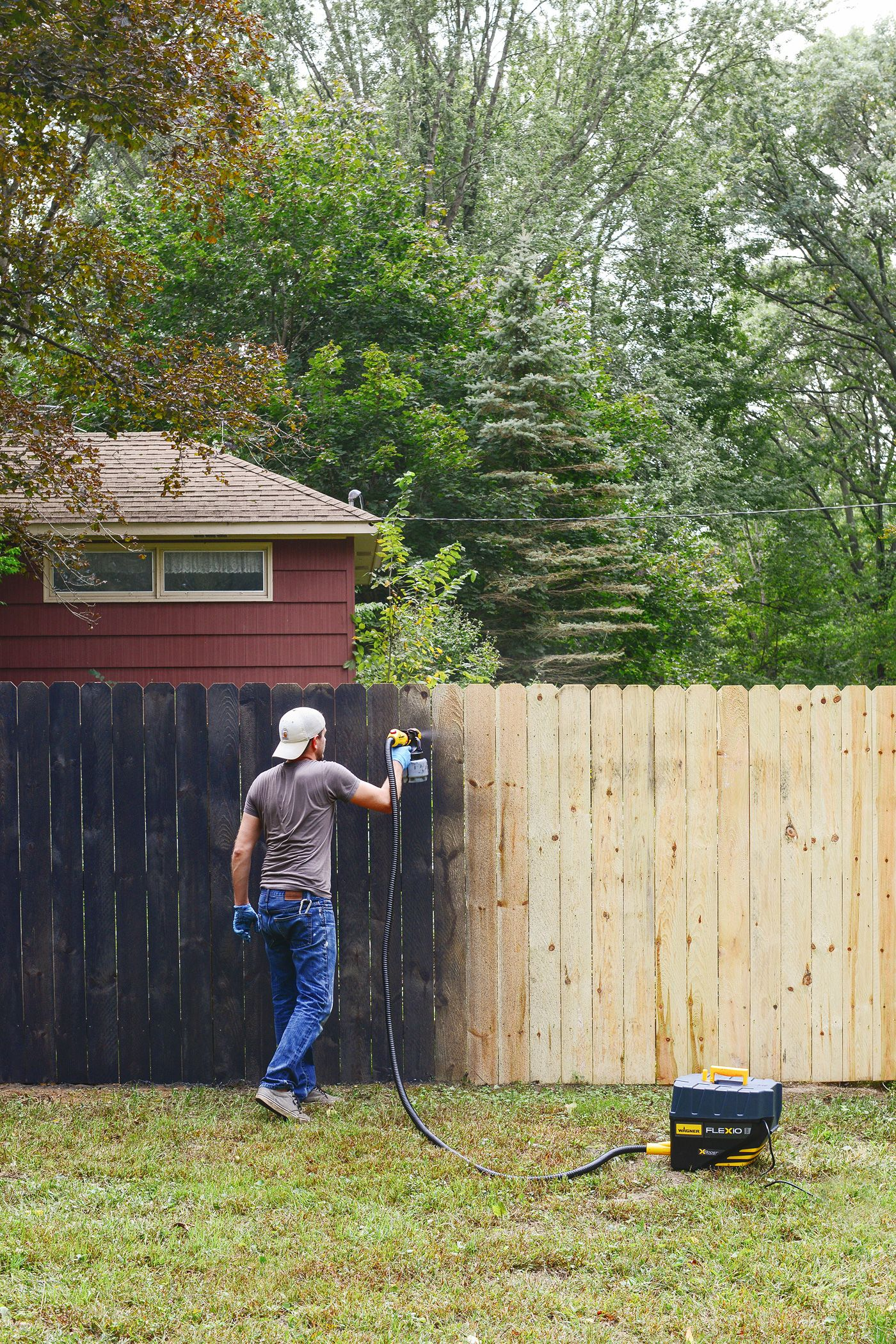 Staining Our Fence Black Backyard Fences Fence Paint Painted Wood Fence