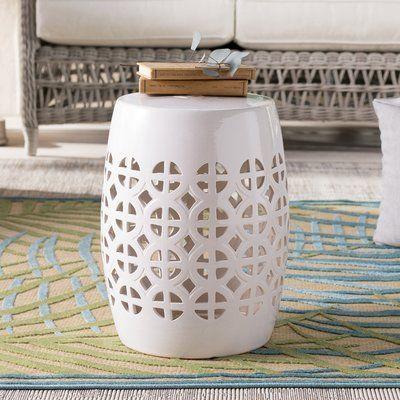 Superb Mistana Keswick Garden Stool Color White Products Machost Co Dining Chair Design Ideas Machostcouk