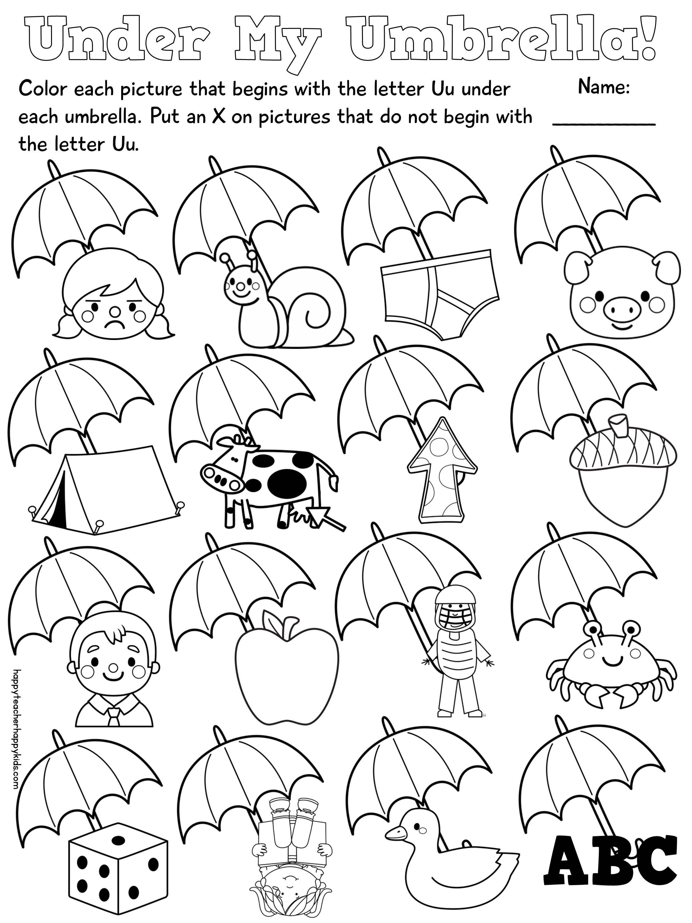 Phonics Letter U Worksheets For Kindergarten. Phonics