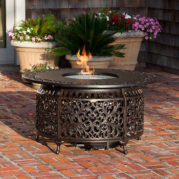 Sedona Cast Aluminum Round Gas Fire Table Propane Fire Pit Table Fire Pit Backyard Outdoor Propane Fire Pit