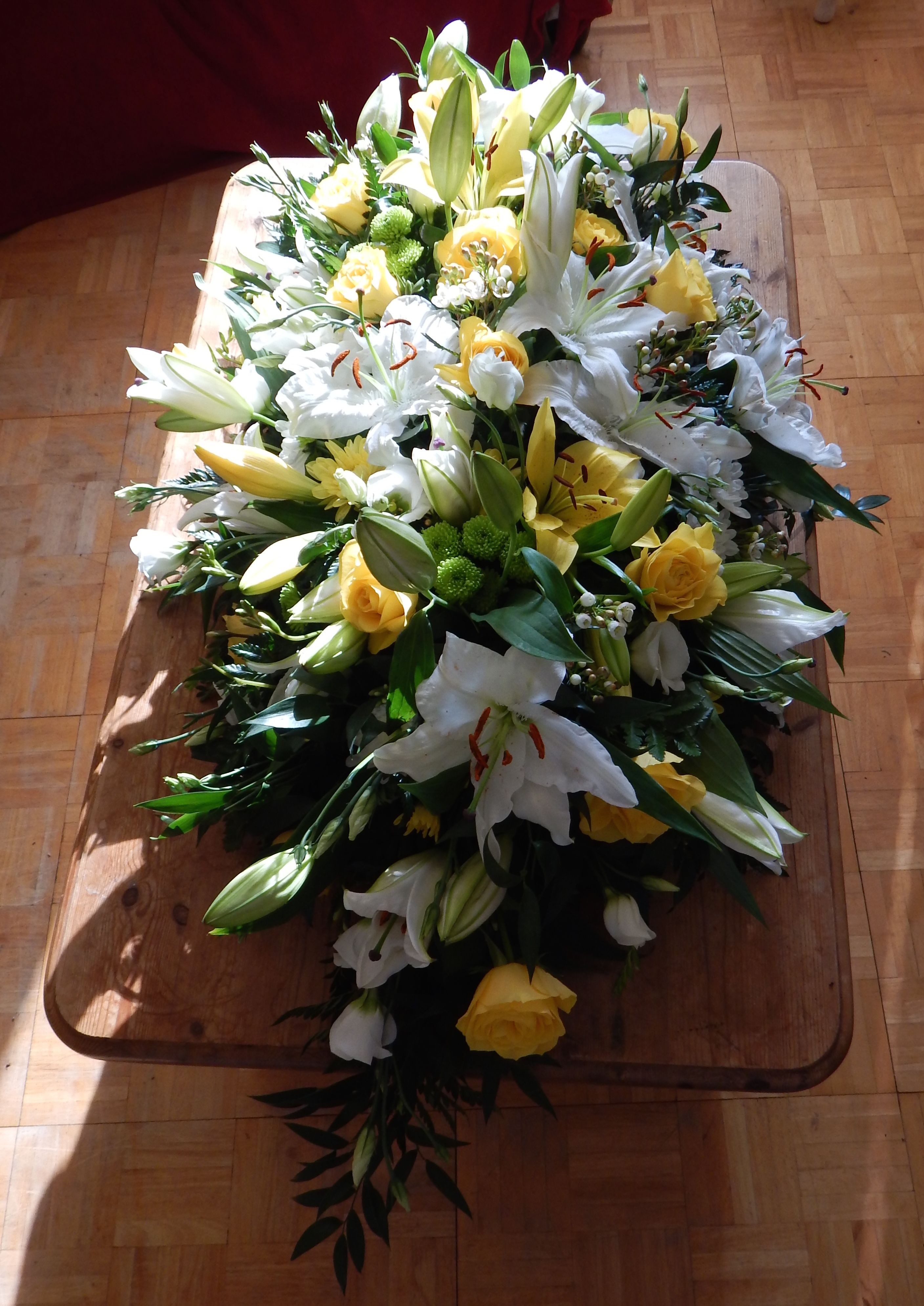 Coffin Spray Funeral Wreath In Yellow And White By Bishopandpolden