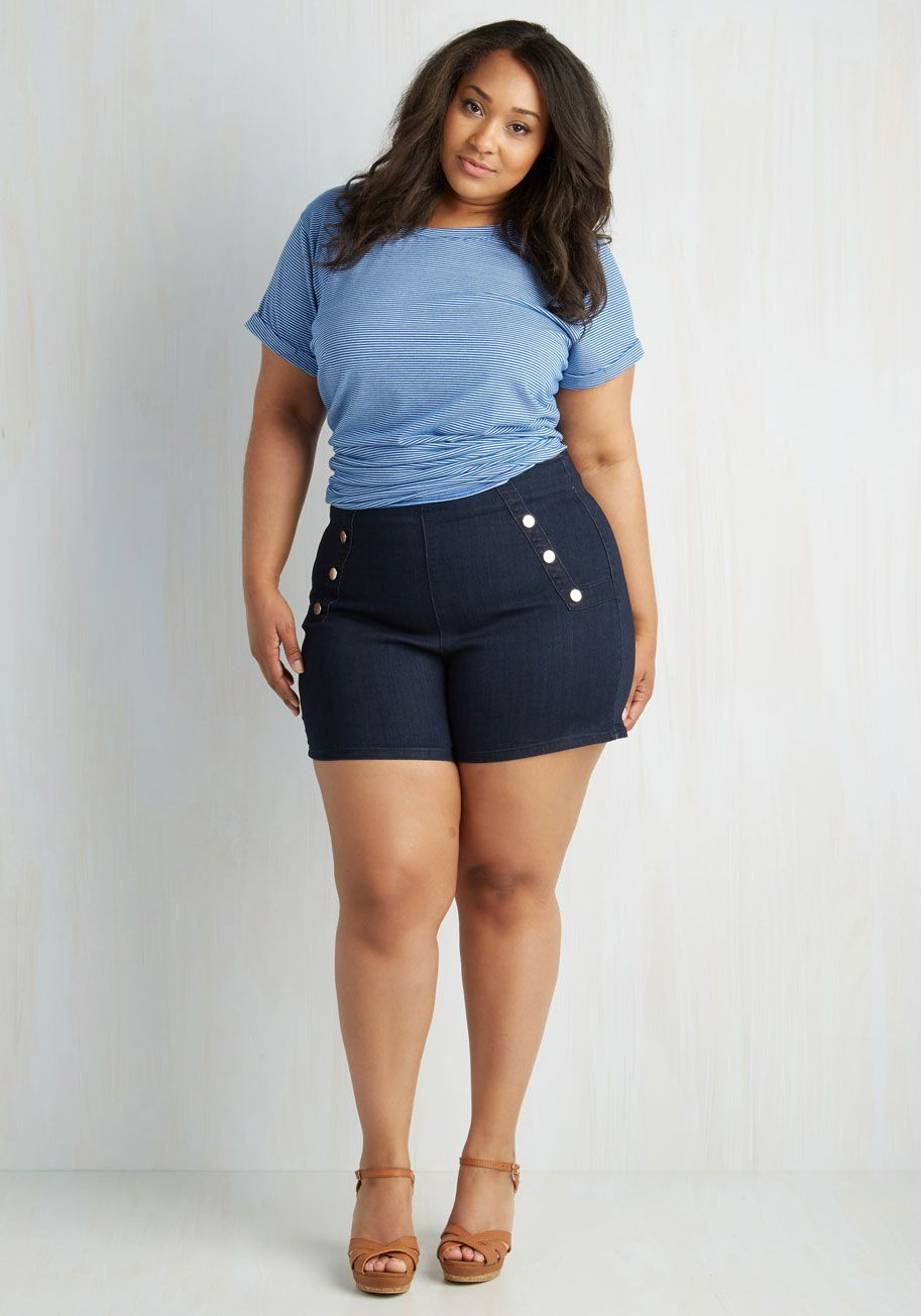Sailorette the Seas Shorts in Dark Wash - Plus Size. Get in touch with the  tides - and your retro charm - by wearing these high-waisted denim shorts! 81b8353227aa