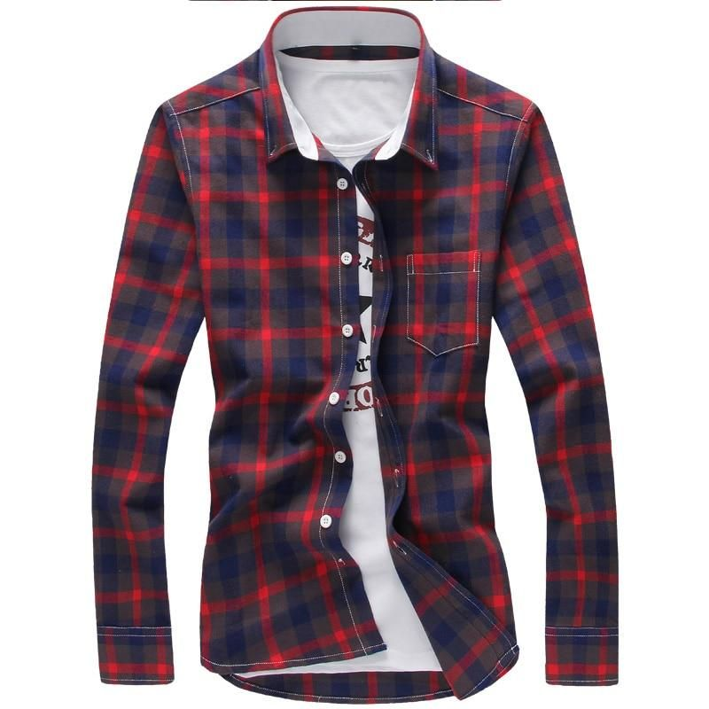 d9c82c2a83e8 5XL Plaid Shirts Men Checkered Shirt Brand 2018 New Fashion Button Down Long  Sleeve Casual Shirts Plus Size Drop Shipping
