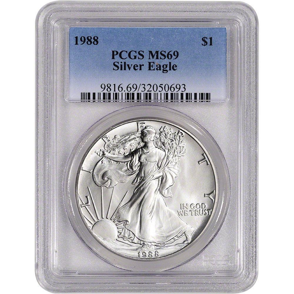 1988 American Silver Eagle Pcgs Ms69 Coin By Samhuc On Etsy Silver Eagle Coins Silver Eagles American Silver Eagle