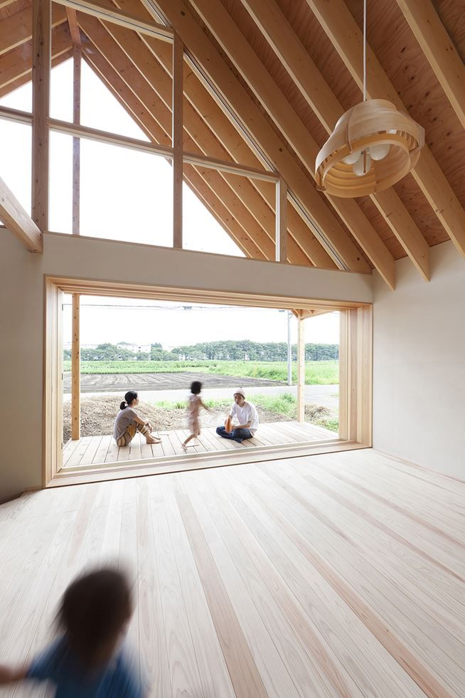 Kawagoe House is a Spacious Room Under a Large Gabled Roof ...