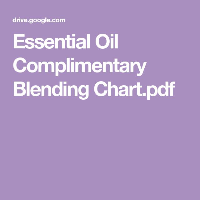 Essential oil complimentary blending chart pdf also oils rh pinterest