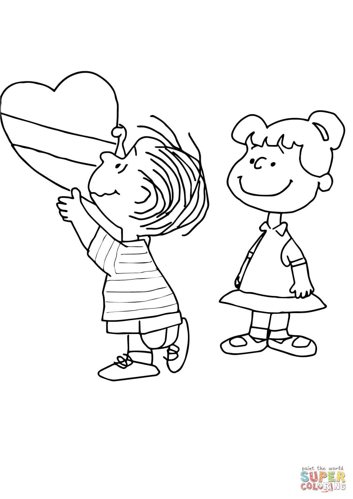 Charlie Brown Valentine Coloring Page Free Printable Pages