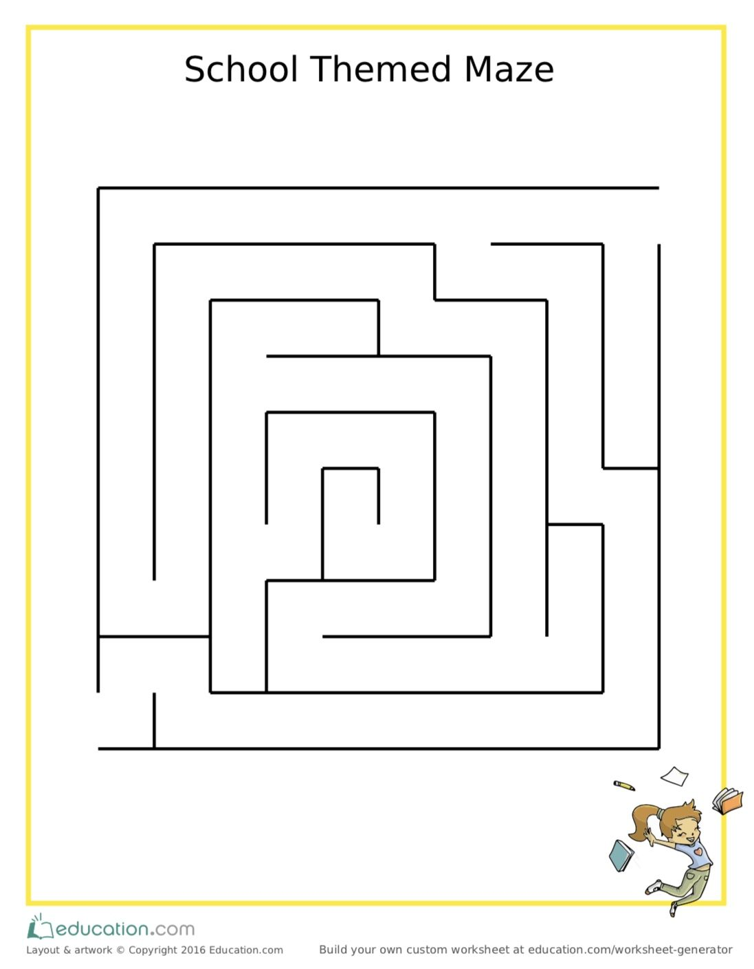 School Themed Maze Printable