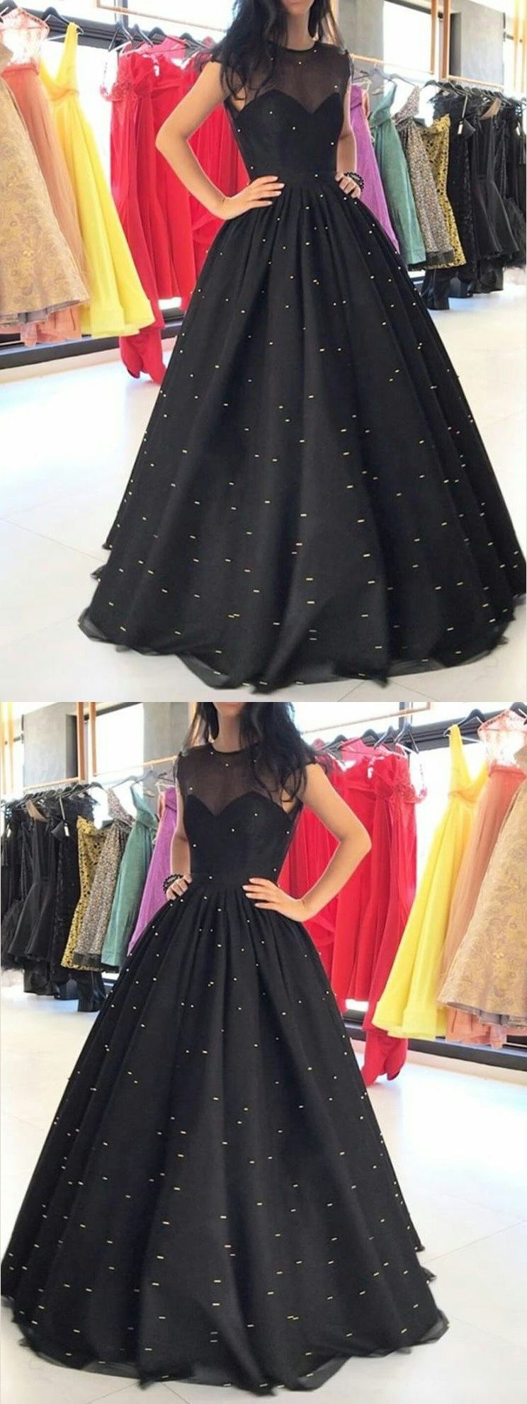 Black prom dresses pearl ball gown long sparkly prom dress jkl