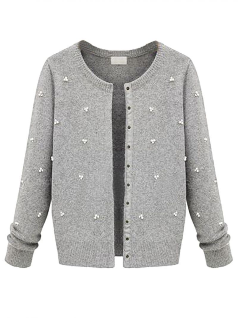 Gray Cardigan With Pearl Sequined | Grey cardigan, Pearls and Gray
