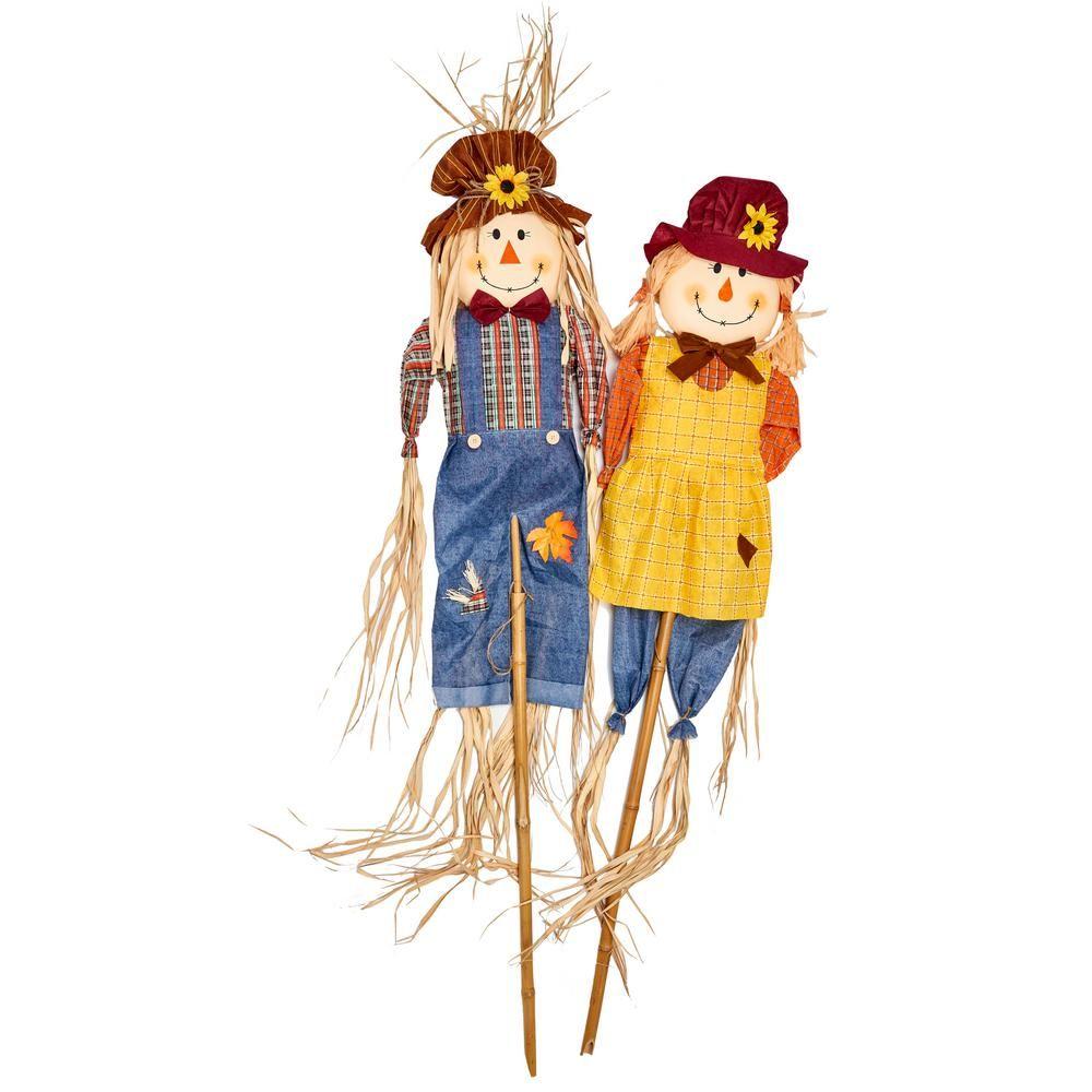 5 Set of 2 WORTH IMPORTS 2641 Scarecrow on Pole