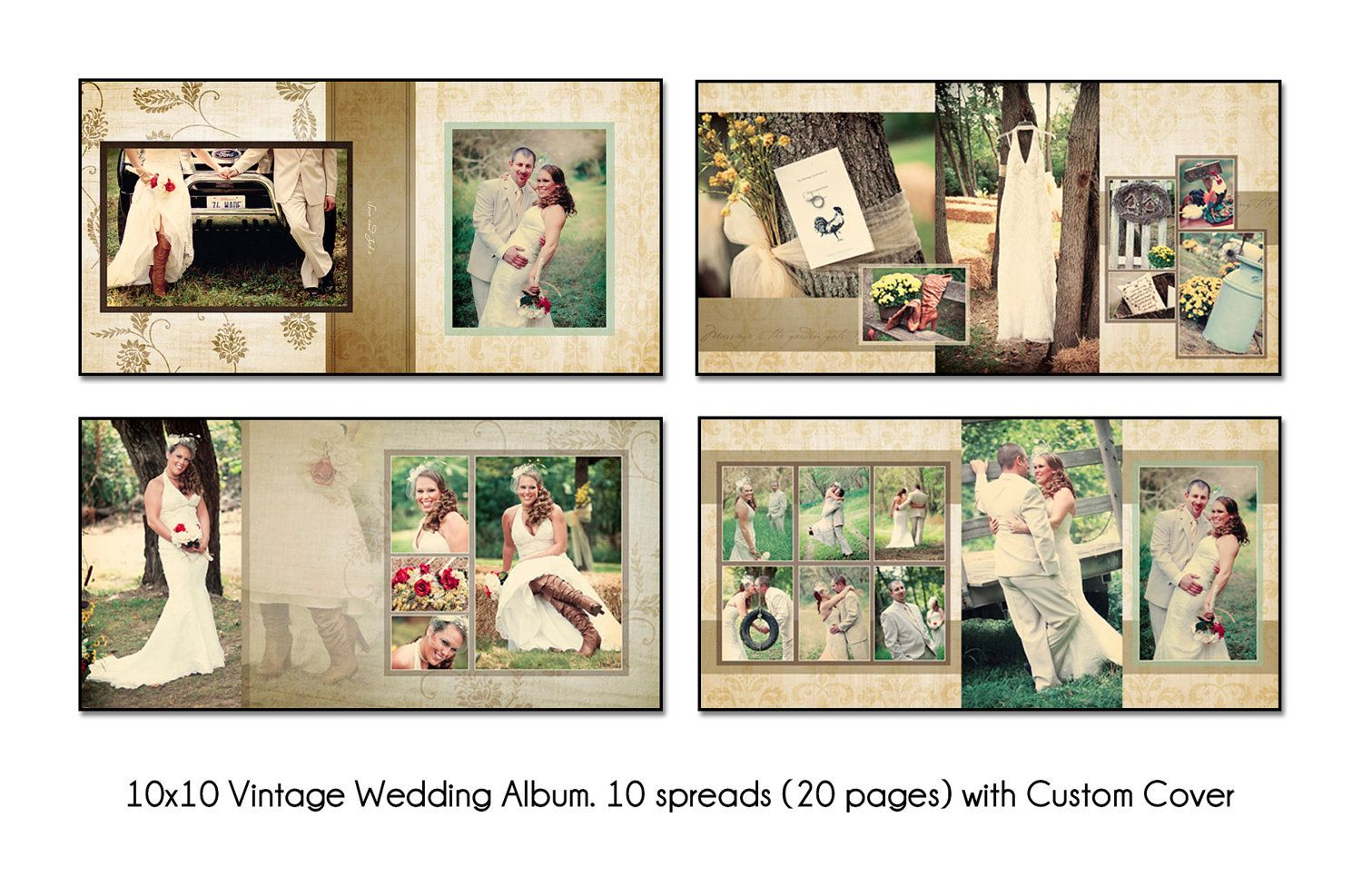 Wedding Album Design Ideas black tie wedding album design plumeria album design Vintage 10x10 Album Template 10 Spread20 Page Design With Custom Cover Psd Digital File