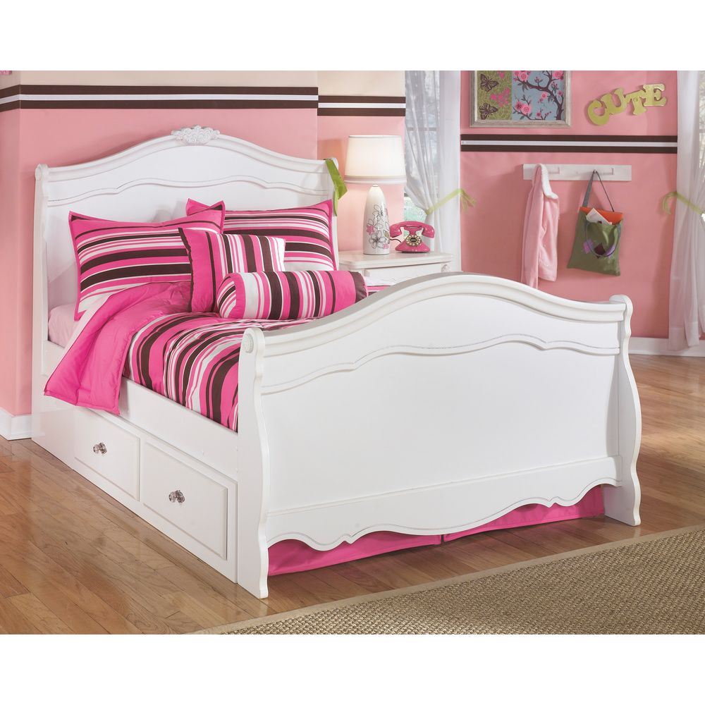 Signature design by ashley exquisite white youth sleigh bed by