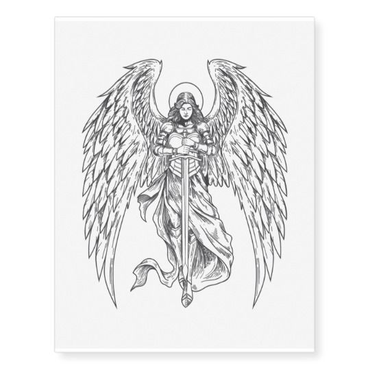 Hand Drawn Angel With Sword Temporary Tattoos | Zazzle.com
