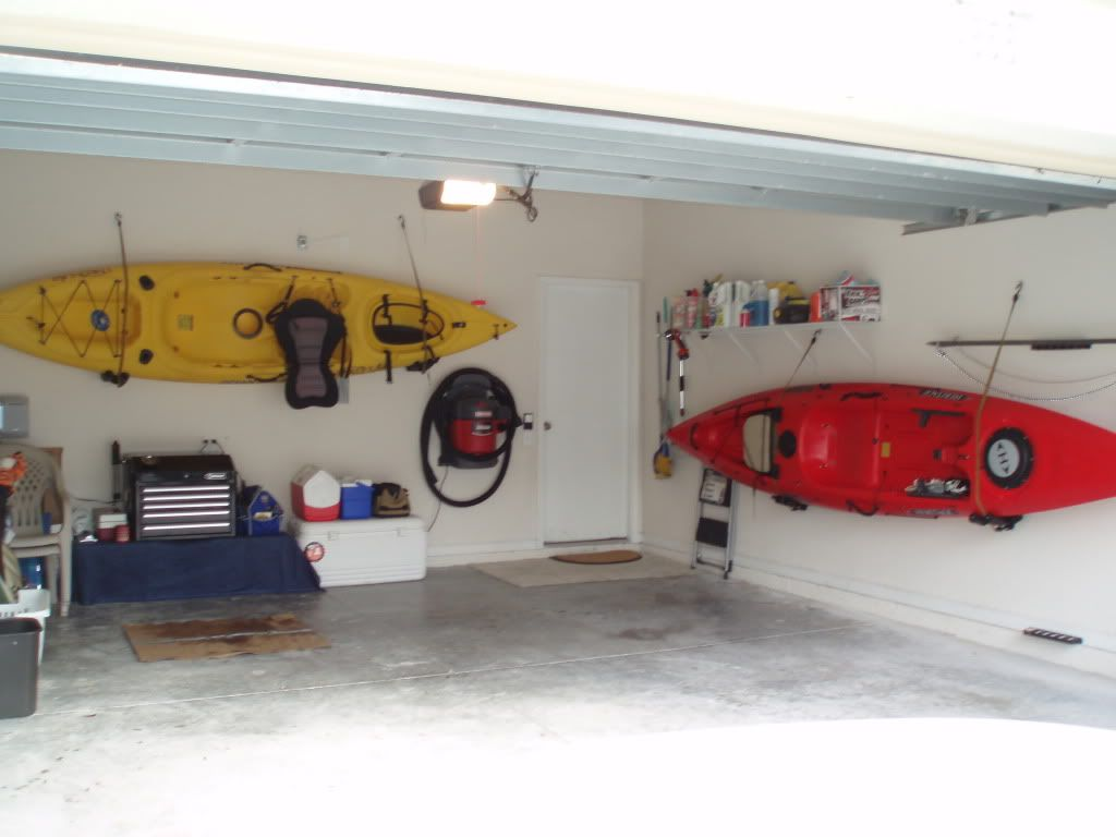 Kayak Wall Hanger >> Use Car Kayak Racks To Hang Your Kayaks Home Garage In