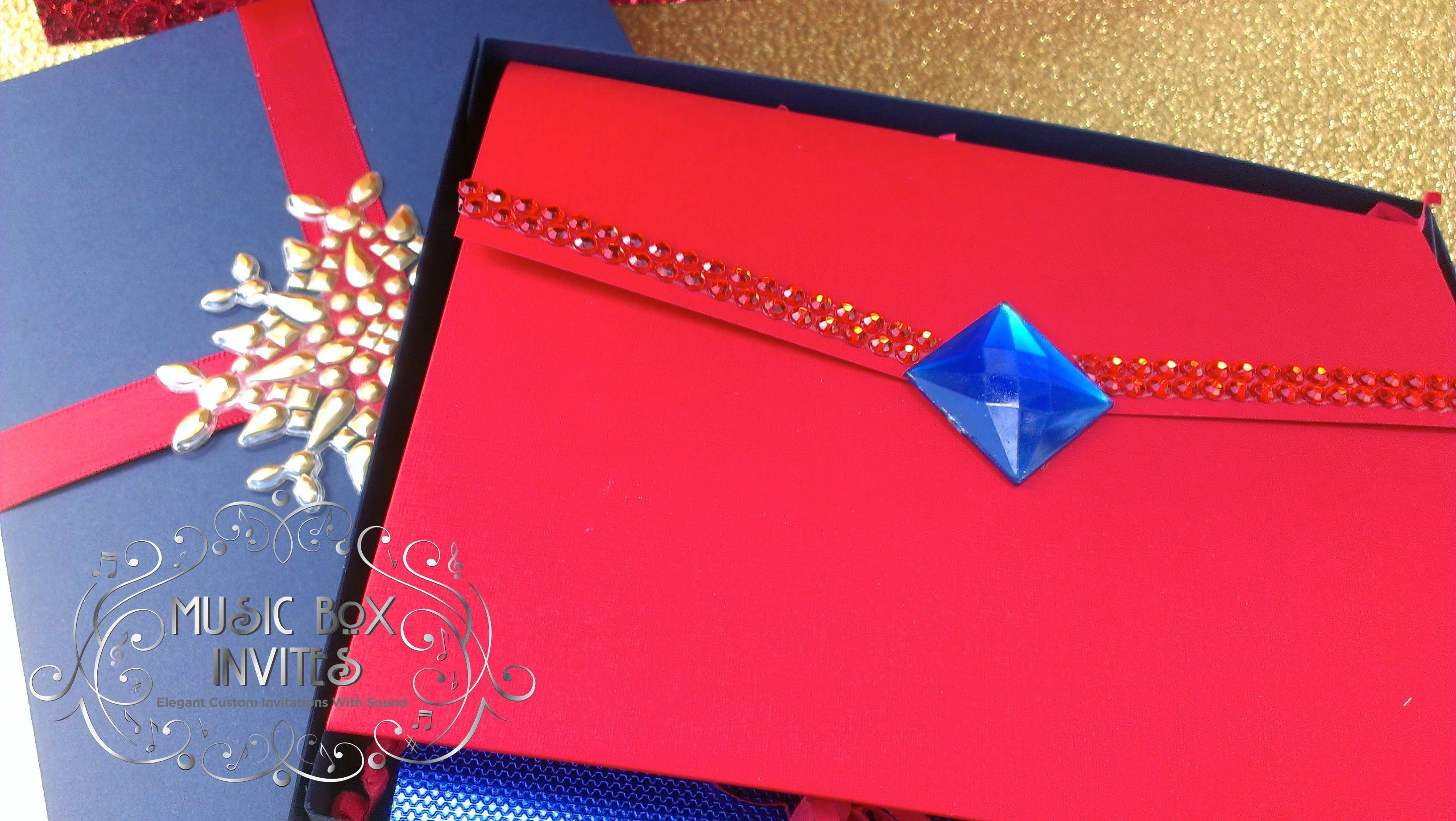 Red White and Blue Musical Wedding Invitation themed for Superman ...