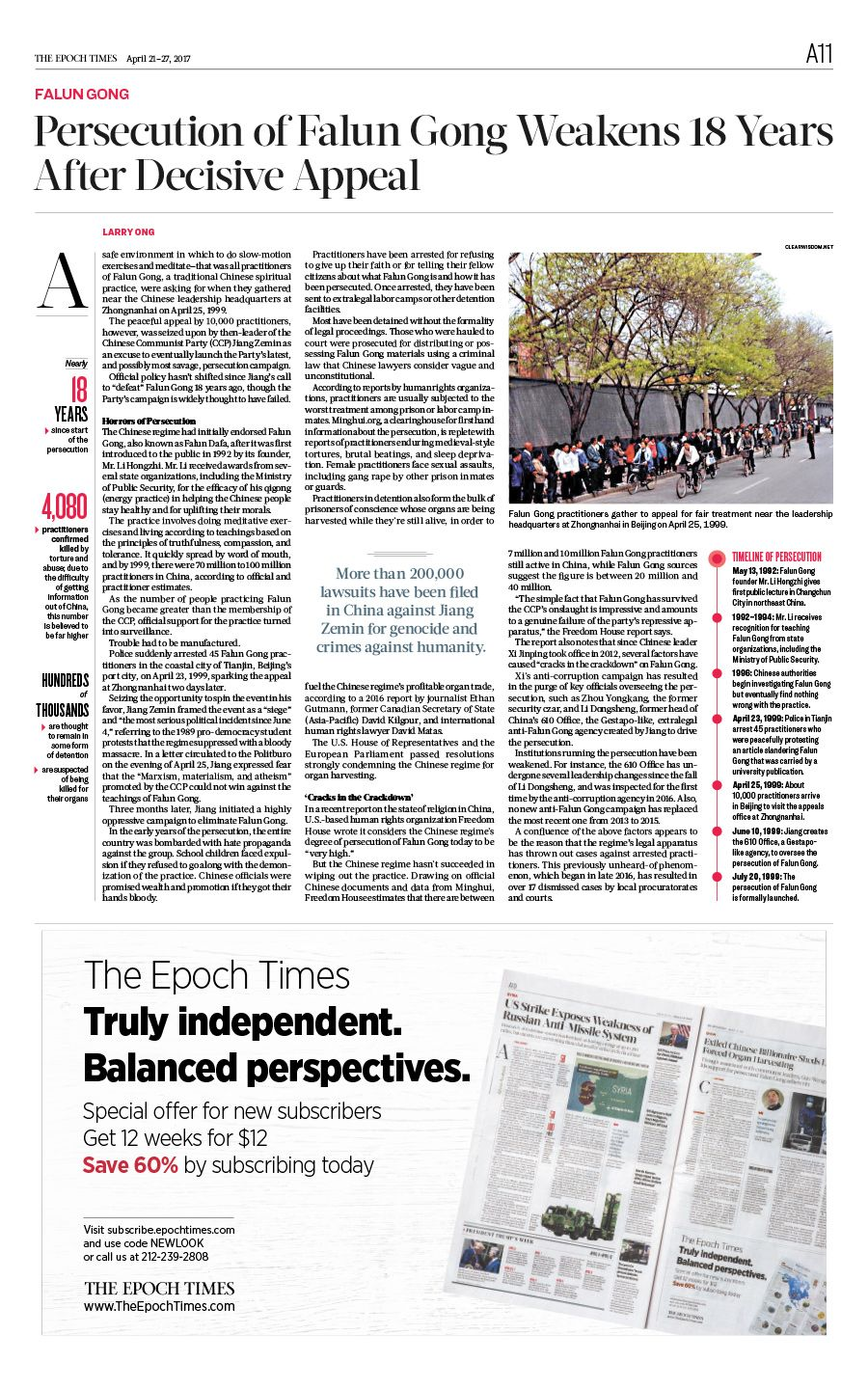 Persecution of Falun Gong Weakens 18 Years After Decisive Appeal The Epoch Times #425 #FalunGong #newspaper #editorialdesign