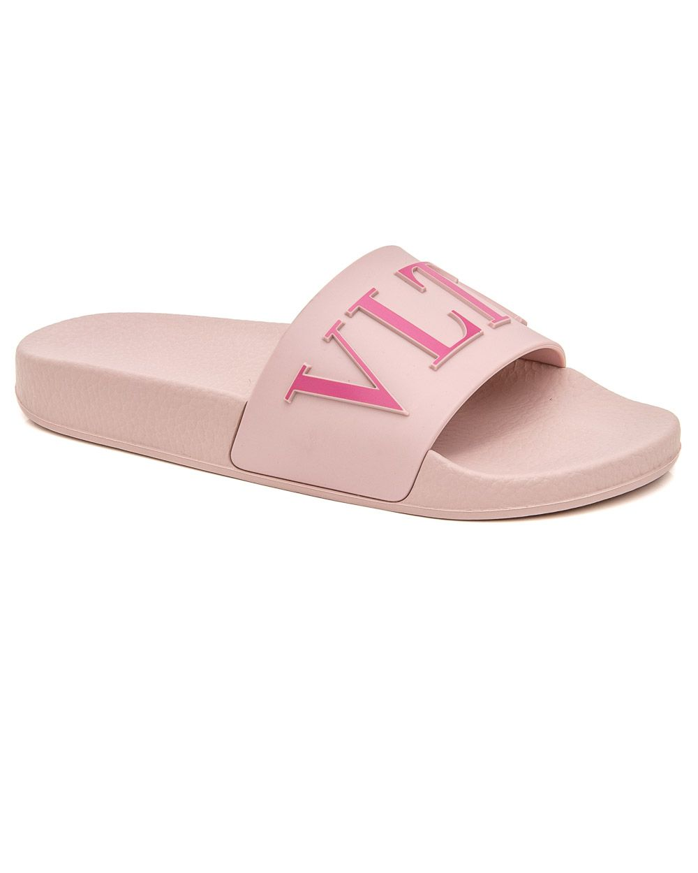 e8055341a4f Valentino Garavani Water Rose VLTN Slide Sandal Rubber upper Slip on style  Wide toe band VLTN logo Rounded open toe Molded rubber insole Rubber sole  Made in ...