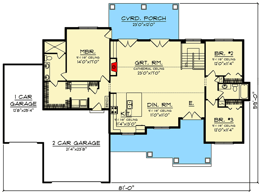 Plan 890105ah New American Ranch Home Plan With 3 Car Garage Ranch House Plans House Plans Craftsman Style House Plans