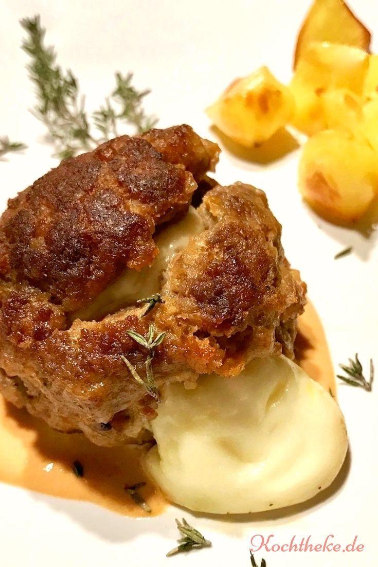 Babybel-Hackfleischbällchen mit Ofenkartoffeln und Thymian-Sauce