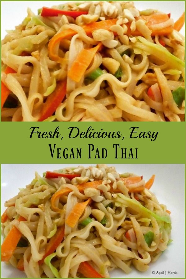 Fresh veggies, a tasty sauce and comforting noodles make this Vegan Pad Thai Recipe a treat any day of the week!