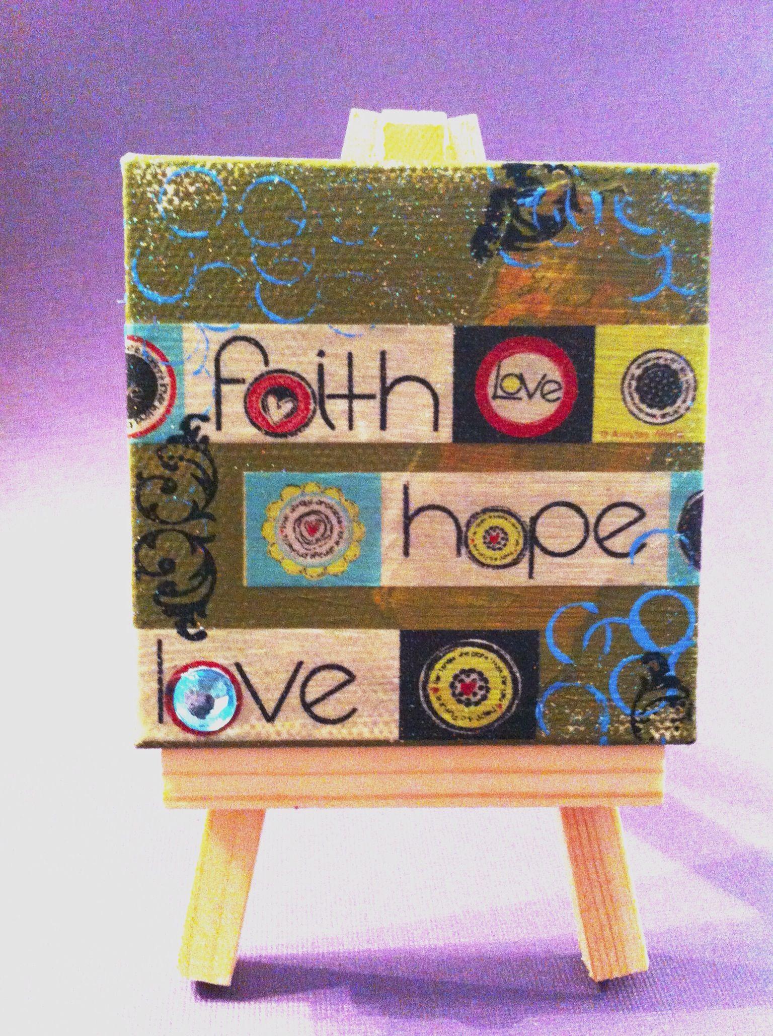 Mini canvas - faith hope love