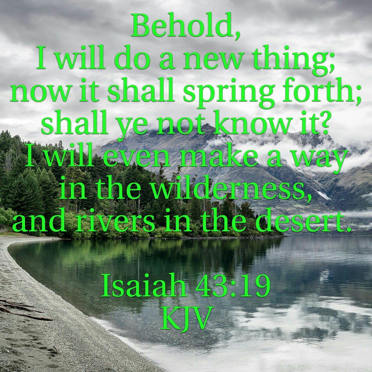 Isaiah 43:19 KJV   Rivers in the desert, Isaiah 43 19, Isaiah