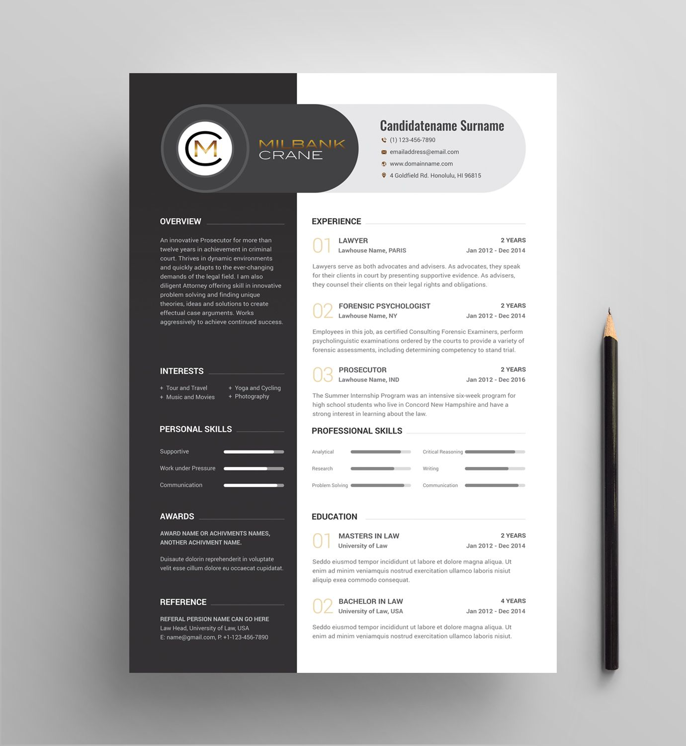 Legal search firm CV template to send out to law firm partners and ...