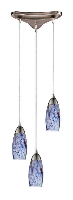 "Elk Lighting 110-3 Milan 3 Light 10"" Wide Linear Pendant with Triangle Canopy an Starburst Blue Indoor Lighting Pendants Multi Light"